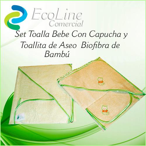 Productos Infantil Set Toalla Bebe con Capucha y Toallita de Aseo Biofibra Natural Bambú